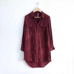 Free People Button Down Shirt Dress - size xs